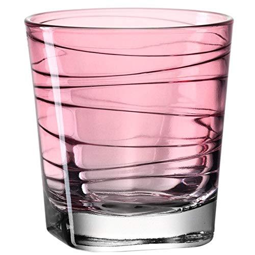 Leonardo Vario Wasser-Gläser, 6er Set, spülmaschinengeeignete Saft-Gläser, bunte Trink-Becher aus Glas mit Muster, Getränke-Set, rot 250ml, 018227