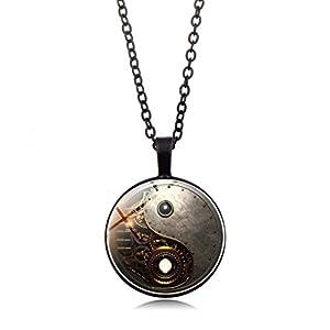 Timesuper Steampunk Tai Chi Photo Necklace Cabochon Glass Pendant Necklace Black