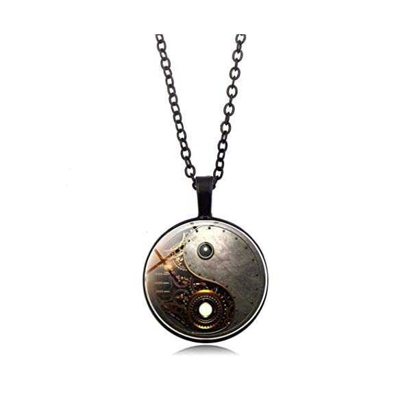 Timesuper Steampunk Tai Chi Photo Necklace Cabochon Glass Pendant Necklace Black 3