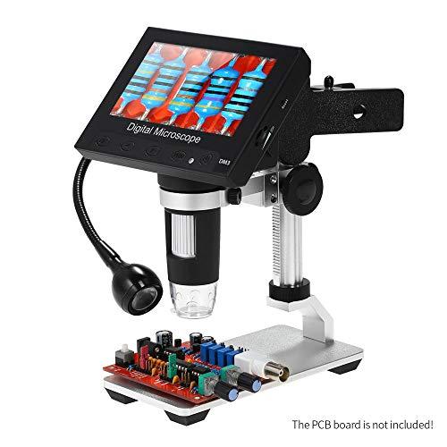 KKmoon Microscopio Digitale Portatile 1000X Display LCD da 4,3 Pollici Lente LED 1080P Controllo Qualità/Industriale/Collezione con Supporto Metallico Lampada Regolabile a 360 °
