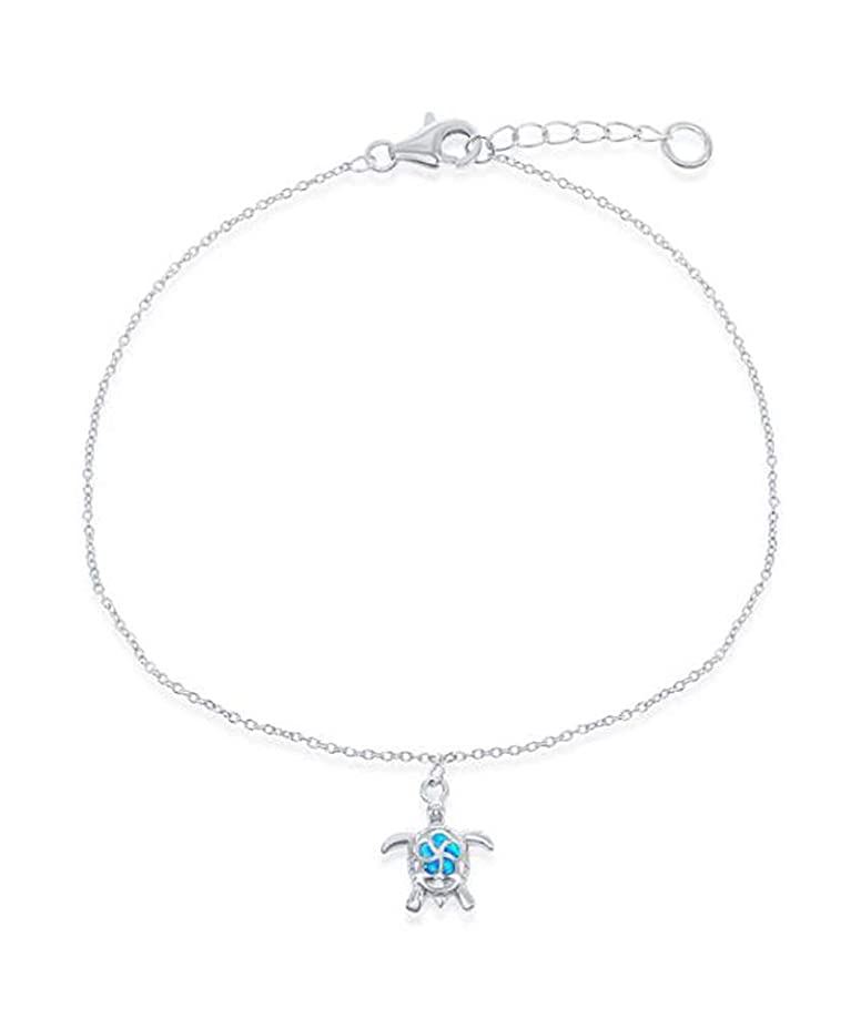 Sterling Silver 9 inch to 10 inch Adjustable Ankle Bracelet with Synthetic Blue Opal Turtle