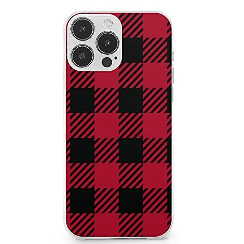 Compatible con iPhone 13 Pro Max, Ruby Lumberjack Buffalo Plaid Abstracto Anti-Arañazos Suave TPU a prueba de golpes Funda protectora completa para iPhone 13 Pro Max 6.7 pulgadas (2021)