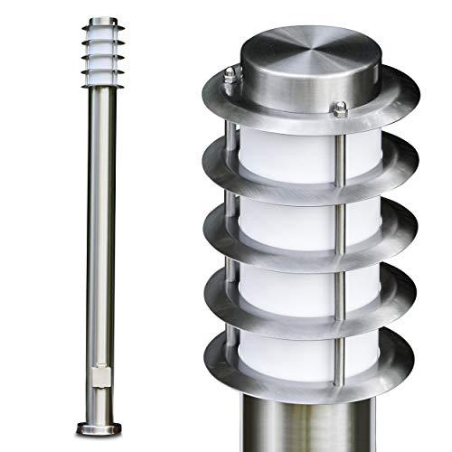 Buitenlamp Stemt af met stopcontact, moderne basisverlichting van rvs en kunststof schijven, padverlichting 110 cm, tuinlamp met E27 stopcontact, max. 40 Watt, tuinlamp IP44