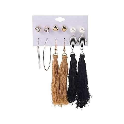Pendientes de aro para mujer con borla y forma de corazón, circonita y perla
