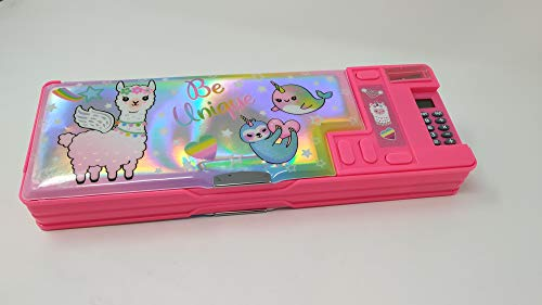 Hot Focus Llama Multifunction Pencil Case, Pencil Box for Girls. 2 Compartments Unique Stationery Set with Pop Out Calculator and Pencil Sharpener. Best Back to School Gift Set for Kids, Girls & Teen.