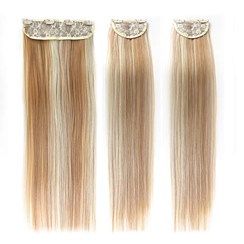 BHF Straight Clip in Hair Extensions 20Inch Synthetic Hairpieces for Women/Girls Thick Full Head Double Weft 3pcs (Straight, P27/613#)