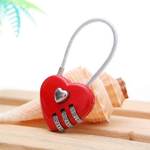 Fliyeong Premium Quality Mini Heart Shape 3 Code Resettable Luggage Suitcase Bag Travel Lock Padlock - Red