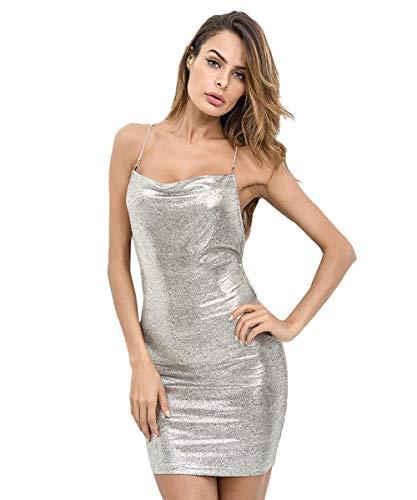 SheIn Women's Sexy Open Back Crisscross Lace Up Cami Mini Bodycon Club Party Dress Silver Medium