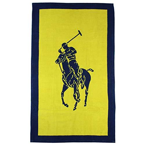 Ralph Lauren Toalla de baño Polo Jacquard, color amarillo y azul marino