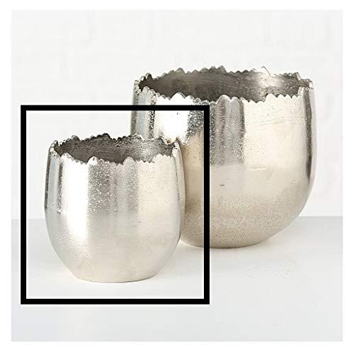 Bloempot bloempot zilver metaal massief plantenpot deco plantenpot decoratieve pot Klein: Ø14 x H13 cm zilver