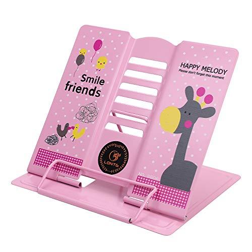 Leesstandaard, ergonomische boekensteun, verstelbare kookboekenstandaard, metalen boekenstandaard voor boeken, tablets en boekenhouders, met 6 hellingsniveaus, voor kinderen en volwassenen 19 x 21 x 16.5 cm roze