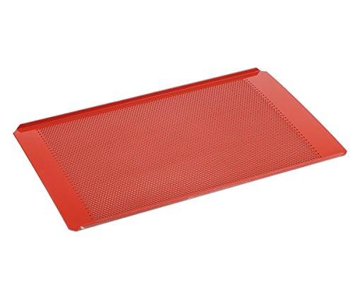 GN 1/1 Backblech aus Aluminium mit roter Silikonbeschichtung, Materialstärke 1,5 mm, temperaturbeständig bis 240°C / 53 x 32,5 cm | SUN