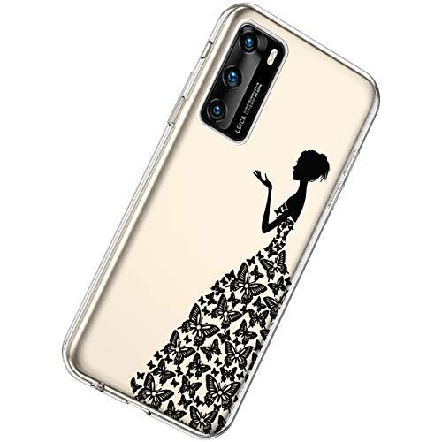 Herbests Kompatibel mit Huawei P40 Hülle Silikon Weich TPU Handyhülle Durchsichtige Schutzhülle Niedlich Muster Transparent Ultradünn Kristall Klar Handyhülle,Mädchen