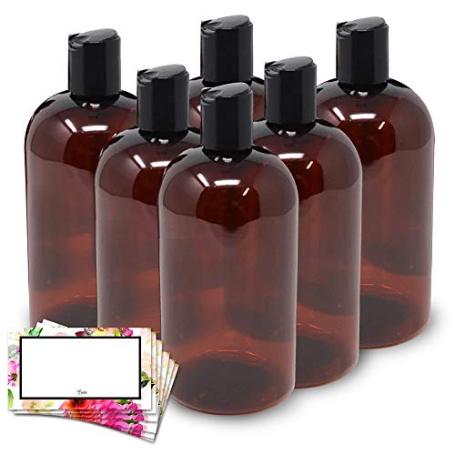 Baire Bottles - 8 Ounce Brown Amber Plastic Bottles with Black Hand-Press Flip Disc Caps - Organize Soap, Shampoo, Lotion with a Clean Look - PET, No BPA - 6 Pack, including 6 Floral Labels