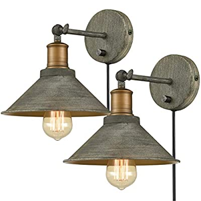 Vintage Swing Arm Wall Sconces Hardwired or Plug-in Bedroom Bath Wall Lamps Set of 2