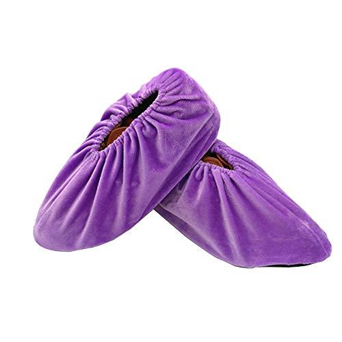SENDILI Schuhüberzieher - Anti-Rutsch Sohle Flanell Schuh Bedeckung Staubfrei Überschuhe für Haushalt Wiederverwendbar Waschbare, Lila, One Size