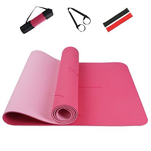 Summer Mae Yogamatte Gymnastikmatte Fitnessmatte Zweifarbig Gepolstert & rutschfest mit Ausrichtungslinie für Fitness 183 x 61 x 0,6 cm Rosa Rosarot