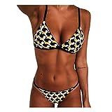 ZYZS Bikini acolchado de dos piezas para mujer, estampado de leopardo, corbata, tanga, triángulo, traje de baño, cintura y braguita Blanco L