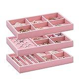 OCIRA Organizador de joyas apilable para collares, charolas de terciopelo para cajón, pendientes, collares, pulseras, anillos, juego de 3 (rosa)