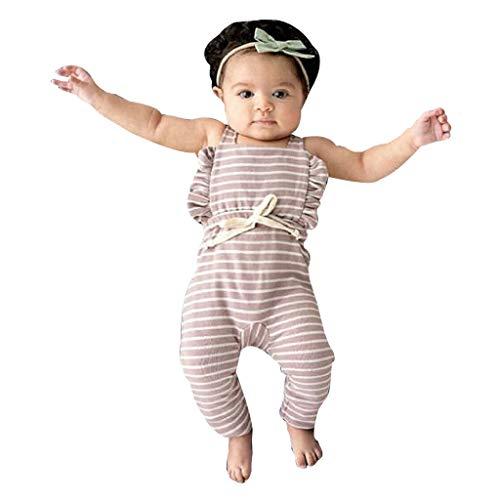 YWLINK Mono De Bebe Verano ReciéN Nacido Bebé NiñA Sin Respaldo A Rayas con Volantes Mameluco Mono Ropa Vestido De NiñA para Mezcla De AlgodóN Bautizo Moda Casual Lindo CóModo(Púrpura,12-18 meses/90)