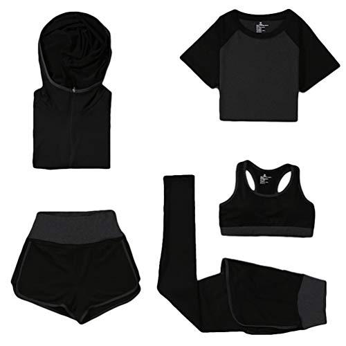 Xinwcang Damen Trainingsanzug 5 Stück Set Trainingsanzug Laufbekleidung Set Stretch-Fit Yoga Kleidung Set Grau XL