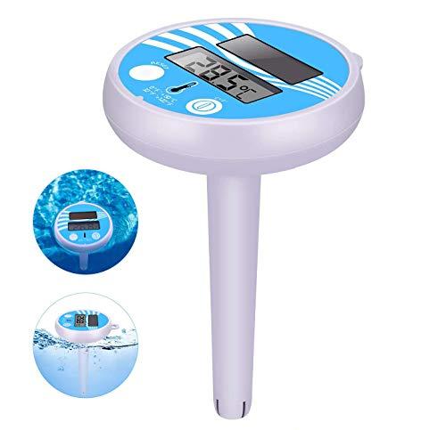 COMBLU Termómetro Digital Solar para Piscina, fácil de Leer y Resistente a los Golpes, termómetro para Todas Las Piscinas al Aire Libre/Interior, spas, jacuzzis y estanques (White)