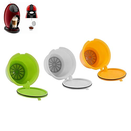 UNISOPH Filtros de café, Taza de Filtro de café Colorida Reutilizable Compatible con Dolce Gusto, incluidos Mini Me Piccolo Genio Esperta y Circolo, 3 Colores