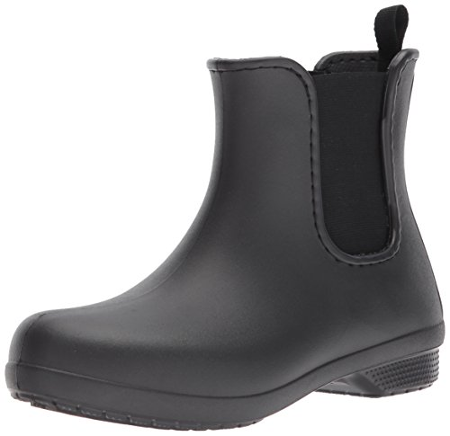 Crocs Women's Freesail Chelsea Rain Boot, Black/Black, 6 M US