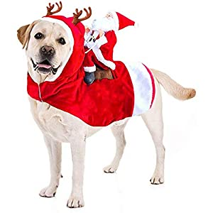 HTLER Chien Costume de Noël Père Noël à Cheval sur Un Pyjama pour Chien de Compagnie pour Noël Costume de Chien pour Chien pour Petit, Moyen, Grand Chien