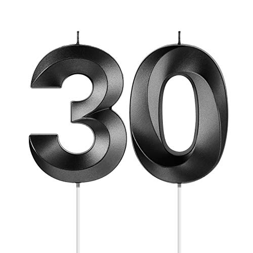 30th Birthday Candles, 3D Diamond Shape Number 30 Candles Cake Topper Numeral Candles for Party Decoration Reunions Theme Party Anniversary (Black, 2 Inch)