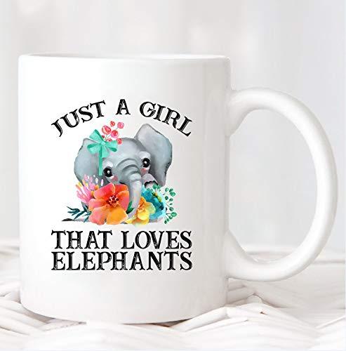 CICIDI Just a Girl That Loves Elephants Mug, Elephant Mug, Elephant Gifts for Women, Elephant Coffee Mug, Elephant Cup, Elephant Lover Gift, Mug Ceramic Mug 11 oz