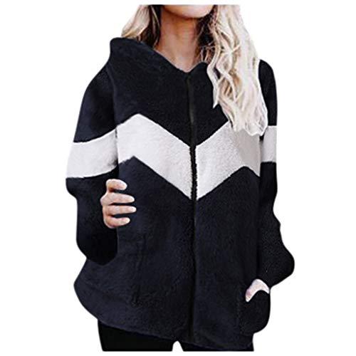 ALISIAM Suéter Moda para Mujer Blusa Suelta de Lana con Capucha Blusa Bolsillos de Manga Larga Tops Otoño e Invierno Abrigo de poliéster Chaqueta de Abrigo Chaqueta de Abrigo