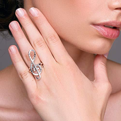 Anillo de clave de sol, anillo peculiar, anillo inusual, regalo del profesor de la música, joyería de la música, anillo statement, anillo de plata para las mujeres, joyería del Clef del treble