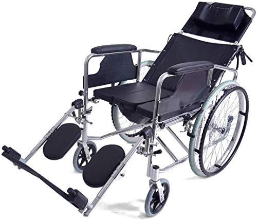 XUSHEN-HU Silla de ruedas reclinable completa de 170°, estructura ligera de aluminio plegable, silla de ruedas autopropulsada con orinal y freno de mano, almohada cómoda, color negro ligero
