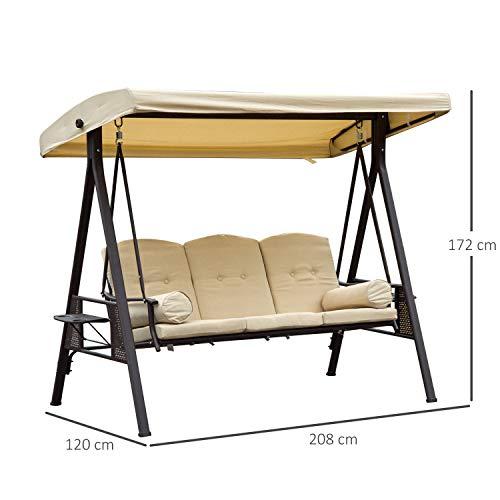 Outsunny 3-Sitzer Hollywoodschaukel Gartenschaukel mit Sonnendach + Kissen Metall + Polyester Beige + Braun 124,5 x 206 x 180 cm - 5