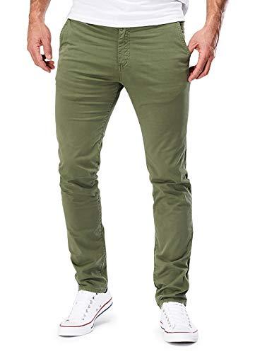 MERISH 401 - Pantaloni chino aderenti, da uomo 401 oliva. 34W x 32L