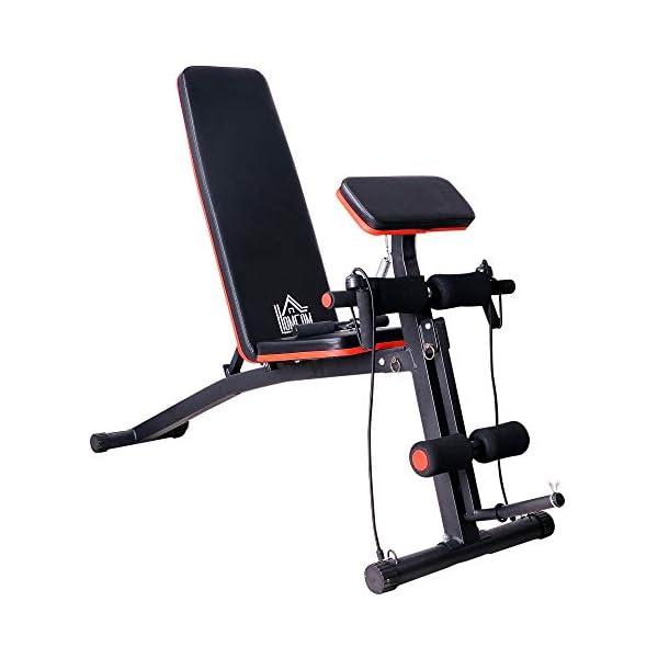 Homcom-Banc-de-Musculation-Pliable-inclinable-rglable-153L-x-53l-x-102H-cm-Sangles-lastiques-Support-haltres-Inclus-Acier-Noir-Rouge