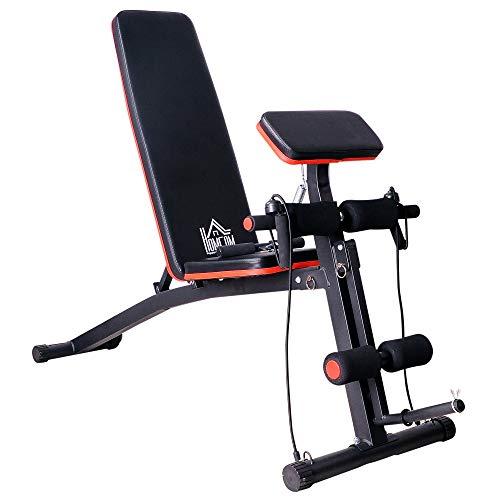 homcom Panca per Addominali Multifunzione, Panca Fitness per Allenamento Braccia e Gambe 53×153×102cm, Nero e Rosso