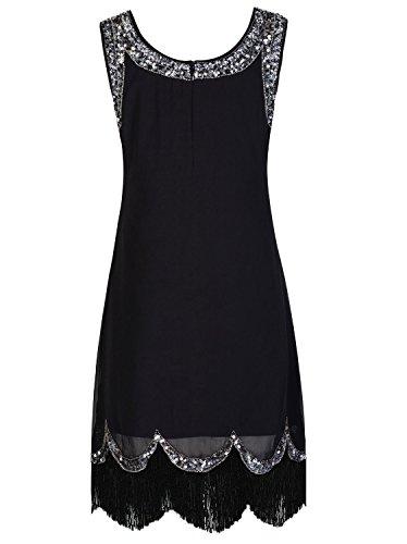 Vijiv Womens 1920s Vintage Embellished Sequin Beaded Flapper Evening Dress, XX-Large, Black