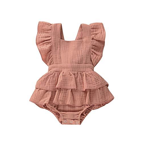 Geagodelia - Mono sin mangas para recién nacido, de algodón y lino, con volantes, para verano, ropa informal (6 a 12 meses, color rojo azulejo)