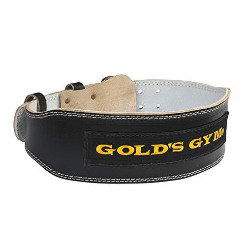 ゴールドジム(GOLD`S GYM) ブラックレザーベルト G3367 M 【初心者~中級者】 背当てパッド付 腰 体幹 補助 スクワット ベンチプレス シーテッドローイング ラットプルダウン 【ゴールドジム正規品 ゴールドジムトレーナー愛用】 トレーニングベルト