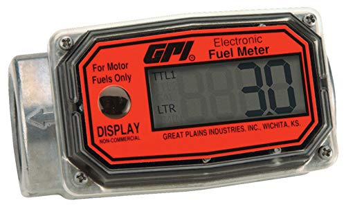 GPI 113255-3, 01A12LM Aluminum Turbine Fuel Flowmeter with Digital LCD Display, 10-113 LPM, 1-inch F ISO Inlet/Outlet, 0.75-Inch Reducer Bushings, ±5% Accuracy