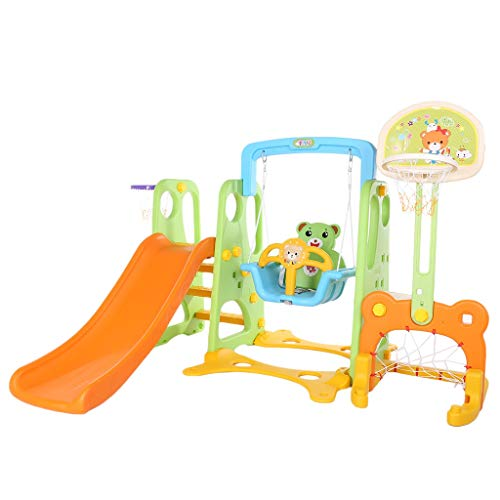Baby Boys Girls Climber and Swing Set, 5 in 1 Kids Indoor and Outdoor Slide Swing and Basketball Football Baseball Set Easy Climb Stairs for Infant Playground Games