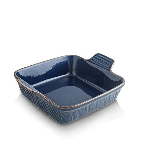 KOOV Ceramic Bakeware, 8x8 Baking Dish, Square Baking Pan, Ceramic Baking Dish, Brownie Pans for Cake Dinner, Kitchen, Texture Series (Aegean)