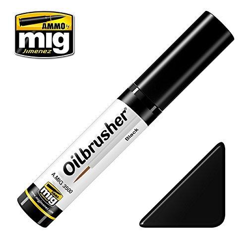 Ammo of Mig Oilbrusher Black - Oil Paint with Fine Brush Applicator #3500