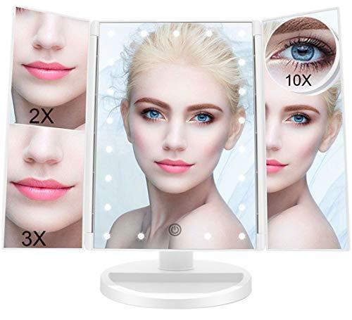 FASCINATE Espejo Maquillaje con Luz, Espejo de Mesa Tríptica Espejo con Aumentos 10x, 3X, 2X, 1x Iluminacíon 21 Led Pantalla Táctil Lámparas Rotación de 180° Espejo Cosmético Carga con USB o Batería