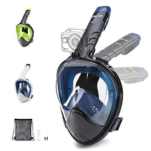 Glymnis Masque de Plongée Intégral avec Tuba Anti-buée, Anti-Fuite, Plein Visage 180° avec Support de Caméra pour Adultes et Enfants (L/XL, Bleu)