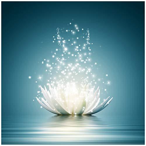 Wallario Acrylglasbild Lotusblüte auf Wasser - 50 x 50 cm in Premium-Qualität: Brillante Farben, freischwebende Optik