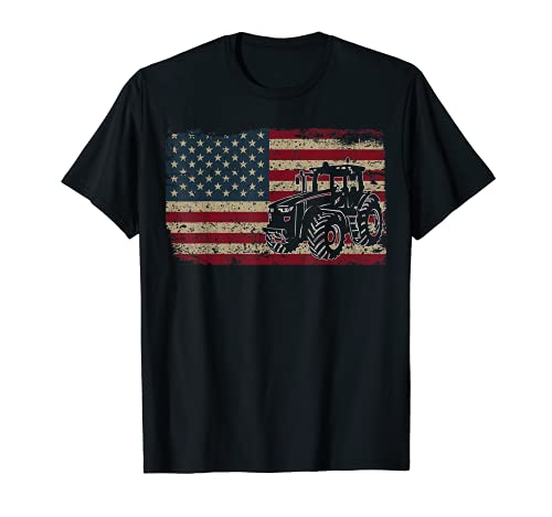 Farm Tractors USA Flag Patriotic Farming Gift T-Shirt