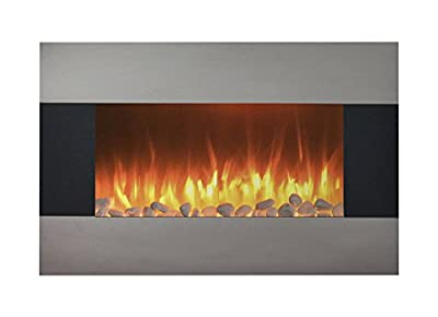 "Northwest Stainless Steel Electric Fireplace with Wall Mount and Floor Stand and Remote, 36 Inch, 24.25"" x 35.5"" x 8.6"""